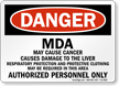MDA Authorized Personnel Only OSHA Danger Sign