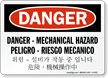 Multilingual Mechanical Hazard OSHA Danger Sign
