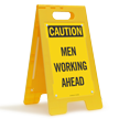 Men Working Ahead Caution Standing Floor Sign