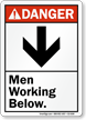 Men Working Below ANSI Danger Sign With Graphic