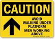 Avoid Walking Under Platform Men Working Above arrow Sign