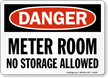 Meter Room No Storage Allowed Sign