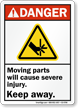 Moving Parts Cause Severe Injury Keep Away Sign