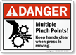 Multiple Pinch Points Keep Hands Clear Danger Sign