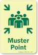 Muster Point Glow-in-the-Dark Emergency Exit Sign