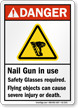 Nail Gun In Use ANSI Danger Sign