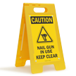 Nail Gun In Use Keep Clear Caution Floor Sign