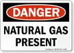 Natural Gas Present Danger Sign