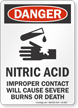 Nitric Acid OSHA Danger Sign