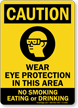Wear Eye Protection, No Smoking Eating Drinking Sign