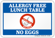 Allergy Free Lunch Table Sign