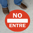 17in. Diameter SlipSafe™ Spanish Do Not Enter Floor Sign