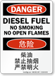 Danger Diesel Fuel No Smoking Chinese/English Bilingual Sign