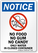 No Food No Gum No Candy Notice Sign