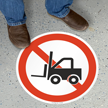 No Forklift Circular Floor Sign