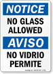 No Glass Allowed Bilingual Sign