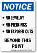 No Jewelry/Piercings Beyond This Point Sign