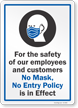 No Mask No Entry Policy Is In Effect Sign