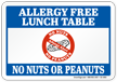 No Nuts Peanuts Allergy Free Lunch Table Sign