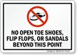 No Open Shoes Or Sandals Sign