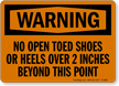 No Open Toed Shoes OSHA Warning Sign