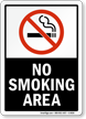 No Smoking Area  - black vertical Sign