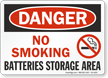 No Smoking Batteries Storage Area OSHA Danger Sign