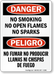 No Smoking No Open Flames Bilingual Sign