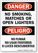 No Smoking, Matches, Open Lighters Bilingual Sign