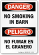 No Smoking In Barn Bilingual Sign