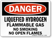 Danger Liquefied Hydrogen Flammable Gas Sign