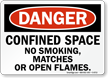 Danger: Confined Space No Smoking Sign