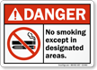 No Smoking Except Designated Sign With E-Cigarette Graphic