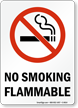 No Smoking Flammable (symbol) Sign