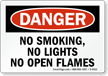 No Smoking, No Lights, Open Flames Sign