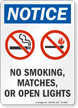 No Smoking Matches Or Open Lights OSHA Notice Sign