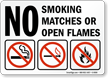 No Smoking Matches Open Flames (symbols) Sign