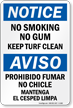 No Smoking No Gum OSHA Notice Sign