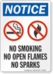 No Smoking Open Flames Sparks OSHA Notice Sign