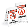 Danger No Smoking Flammable Reversible Fold-Ups Floor Sign
