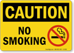 Caution: No Smoking (with symbol)