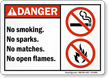 Smoking, Sparks, Matches, Open Flames Restricted Danger Sign