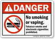 No Smoking Vaping Tobacco Smoke E-Cigarettes Prohibited Sign
