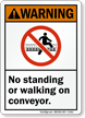 No Standing Or Walking On Conveyor Warning Sign