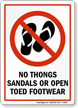No Thongs, Sandals Or Open Toed Footwear Sign