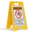 No Standing Walking On Conveyor Folding Floor Sign