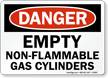 OSHA Danger - Empty Non-Flammable Gas Cylinders Sign