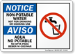 Non Potable Water Bilingual Notice Sign