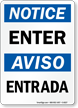 Notice Enter Aviso Entrada Sign