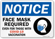 Notice: Face Mask Required, Even For Those With Vaccination